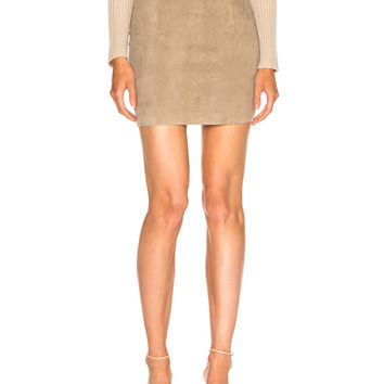 SABLYN Lisa Suede Mini Skirt in Oatmeal | FWRD
