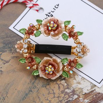Retro handmade Painting Flower Hair Jewelry Metal Hair Clip For Women Mix Color Barrettes