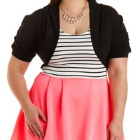 Ruched Sleeve Shrug Cardigan by Charlotte Russe