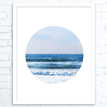 Abstract Art Blue, Wall Art Coastal, Landscape, Large PRINT, Large Gift for Friend, Modern Home Decor, Wall Art Photo, Ocean Print, Ocean