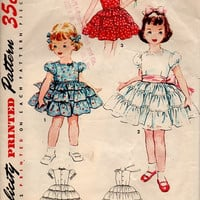 50s Simplicity Sewing Pattern 4545 Girls Party Dress Ruffled Full Skirt Fitted Bodice Square Neck Back Bow Holiday Easter Size 3