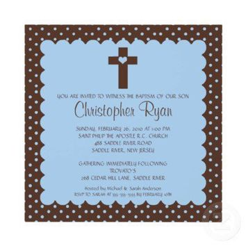 Brown & Blue Baby Boy Baptism Inviation Announcements from Zazzle.com