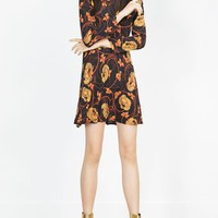 Floral-print A-line Stand Collar Long Sleeve Dress
