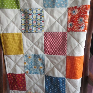Patchwork Baby Quilt, Vintage Inspired Prints Baby Blanket, Crib Bedding