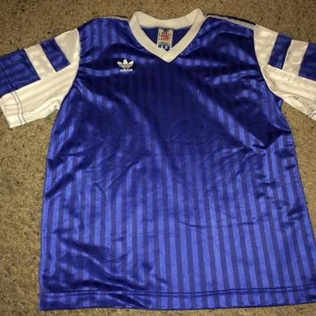 Sale!! Vintage 1980s ADIDAS Polyester blue Active wear Shirt Soccer Jersey Football Ma