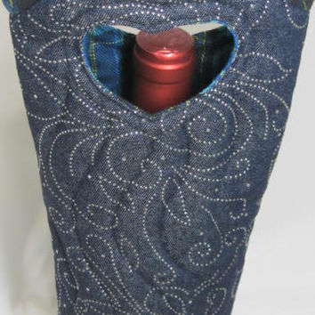 Denim Wine Bag Quilted Fabric Wine Bag Silver Studs Gift Tote Bag