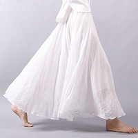 Stlye Women Vintage Skirt Linen Cotton Elastic Waist Pleated Maxi Skirts Beach Boho Long Skirts Summer Solid Color White Blue