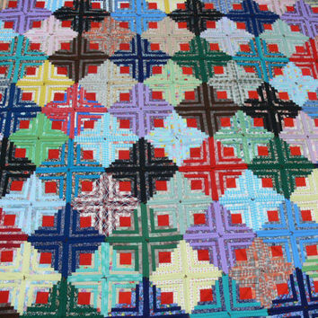 Vintage Log Cabin Quilt Geometric Patchwork by EitherOrFinds