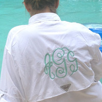 Monogrammed Personalized Columbia Bahama II PFG Fishing Shirt Swim Cover Up Long-Sleeve