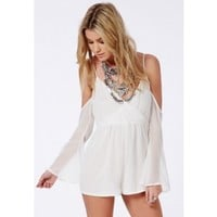 Missguided - Cut-Out Shoulder Playsuit White