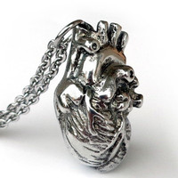 Anatomically Pendant Human Heart Necklace Science Biology Necklaces Antique Silver Jewelry Holiday Gift 2016