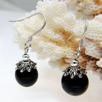 GENUINE NATURAL BLACK CORAL 10MM BALL DANGLE HOOK EARRINGS 925 STERLING SILVER