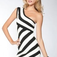 Black White One Shoulder Stripe Bandage Dress - Diva Hot Couture