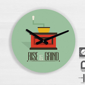 "Kitchen Art - Coffee Quote Illustration wall clock - Rise and Grind - 11"" Diameter - No Ticking Sound"