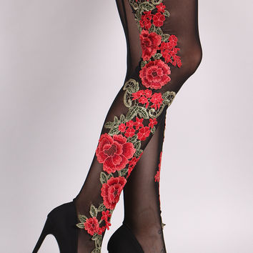 Liliana Floral Crochet Mesh Pointy Toe Stiletto Over-The-Knee Boots | UrbanOG