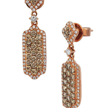 Levian 14K Strawberry Gold Chocolate and Vanilla Diamond Drop Earrings