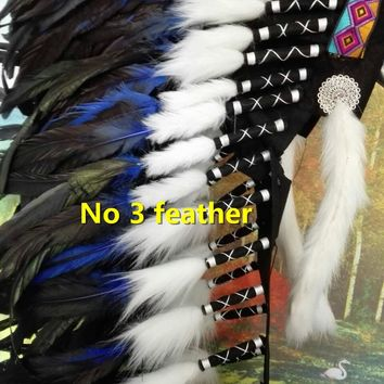 36inch purple Indian feather Headdress indian chief warbonnet american costume dancewear halloween feather costumes