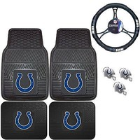 Licensed Official NFL Indianapolis Colts Floor Mats Steering Wheel Cover & Air Freshener Set