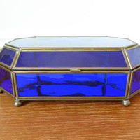 Large vibrant cobalt blue glass and brass mirrored box with etched lid