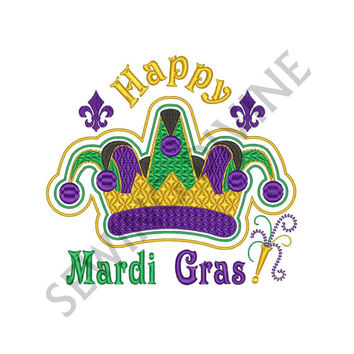 MARDI GRAS Jester CROWN Embroidery Fill Design 4x4 5x7 6x10 Instant Download Fleur de lis