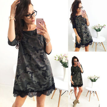 Autumn Fashion Seven Three Quarter Camouflage Print Lace Patchwork O Neck Casual Dress Women Plus Size
