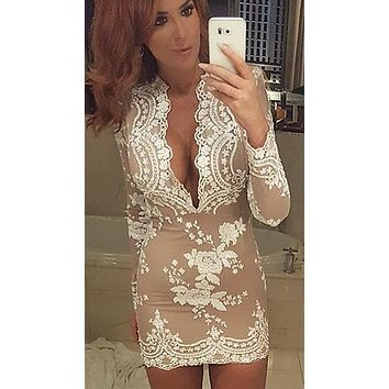 The Dawn Sexy Drop V Neck Long Sleeve Sequin Mini Dress White