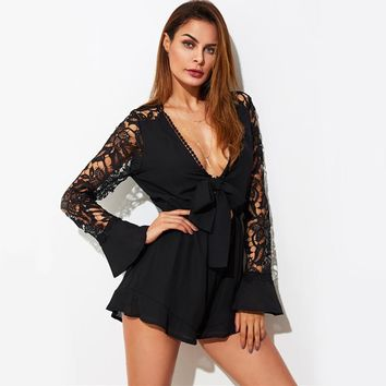 Vintage Lace Sleeve Sexy Romper Women Plunging Knotted Front Elegant Playsuit