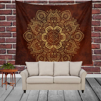Wall Tapestry - 'Royal Red and Gold Mandala' - Home,Decor, Wall,Modern, Home Warming Gift, Symmetry, Harmony, Bohemian, Boho, Hippie, Red