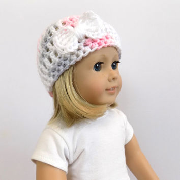 18 Inch Doll Hat, Pink and Gray Doll Beanie, Doll Clothes