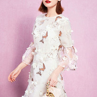 White Butterfly Print Floral Designed Organza Dress