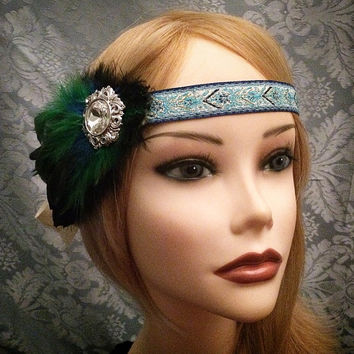 Unique Art Deco Blue Green Feather Flapper Rhinestone Flower Headband Boho Native American Gatsby Head Piece 1920s 20s headpiece Band Hair
