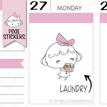 PIXIE - laundry stickers,wash clothes stickers,washing stickers,household stickers,planner stickers,cute stickers,kawaii stickers   A009