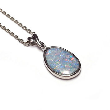 Genuine Opal Necklace - White Opal Necklace, Australian Opal Jewelry, Opal Pendant Necklace, October Birthstone Necklace