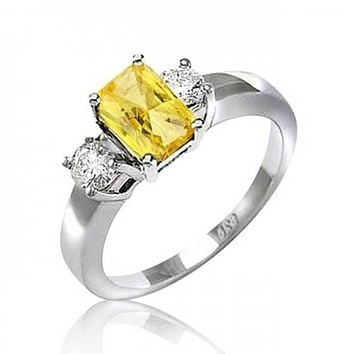 2CT Canary Yellow Emerald Cut AAA CZ Engagement Ring Sterling Silver