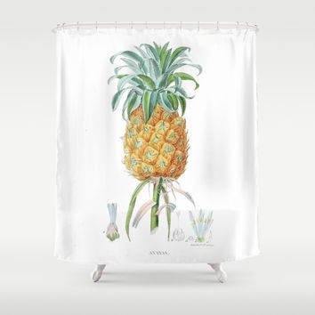 Vintage pineapple antique tropical fruit summer hipster art print Shower Curtain by IGalaxy