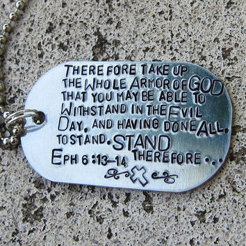 Customized Hand Stamped Dog Tag Necklace  by DesignByAnyOtherName