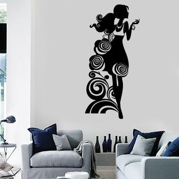 Wall Stickers Vinyl Decal Silhouette Beautiful Girl Fashion Style Shop Unique Gift (ig1812)