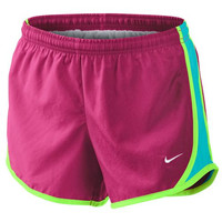 Monogrammed Girls Nike Running Shorts - Rose Pink Shorts with Aqua Sides and Lime Trim