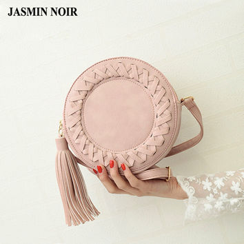 2017 New Fashion women bag tassel Round weave Cross body Bag Messenger Bag Ladies Cute roll Shoulder Bag grey BROWN