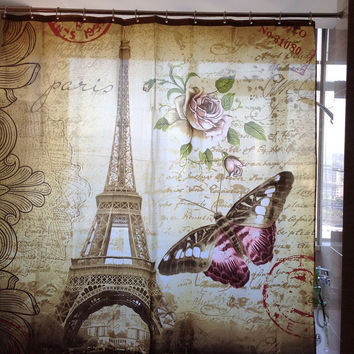 "70"" x 70"" Eiffel Tower Fashion Shower Curtain"