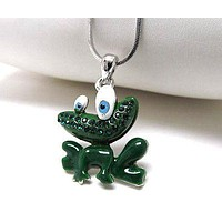 Whitegold plating crystal and epoxy frog pendant necklace