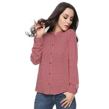 Women red leaves cotton blouses vintage stand collar long sleeve Blusas Femininas European work wear shirts casual tops ST2436
