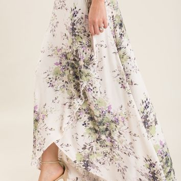 Lucy Lavender Floral Wrap Maxi Skirt