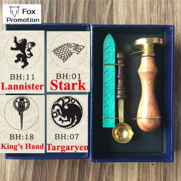 New Hot Game of Thrones wax seal stamp wax spoon gift box,Scrapbooking DIY Ancient Seal Retro Stamp,Vintage Gift high quality 30