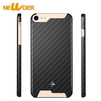 Phone Case For iPhone 8 Real 100% Carbon Fiber 4.7'' Phone Cover Case+ Tempered Glass Screen Protector NEWOER