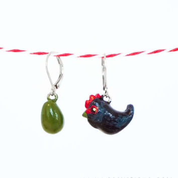 Chicken Earring Olive Egger Farm Animal Polymer Clay Handmade Jewelry Bird Unique Gift Cute Art Hand painted Totem Rustic Hen Egg Black