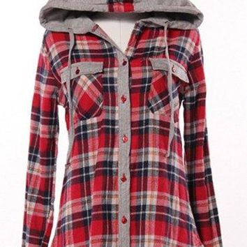 Stylish Hooded Long Sleeve Gingham Single-Breasted Blouse For Women - Red - M
