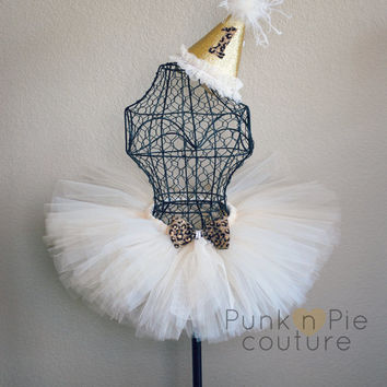 Leopard Tutu with coordinating Crystal embellished Bow and Birthday Hat set- Luxe Leopard and Lace