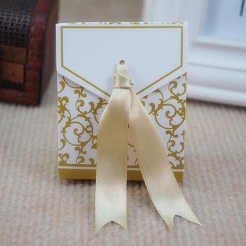 50pcs Lovely Candy Boxes With Ribbon Wedding Party Favor Gift Boxes DIY Candy Cookie Gift Boxes Sliver/ Gold