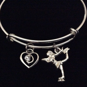 Graceful Skater Ice Skating with Crystal Heart Charm on Expandable Adjustable Wire Bangle Bracelet Trendy Gift Unique